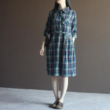 Load image into Gallery viewer, Blue plaid half sleeve fit flare cotton sundress plus size summer dresses