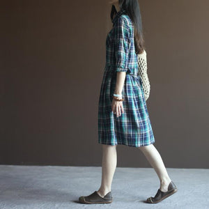 Blue plaid half sleeve fit flare cotton sundress plus size summer dresses