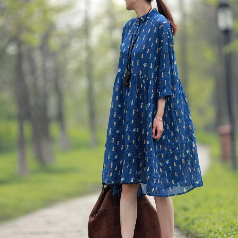 Blue plus size dresses summer cotton dress half sleeve maternity dress sundress