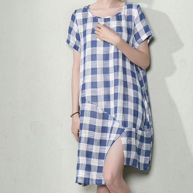 Blue plus size linen shift dress maternity summer dresses oversize sundress