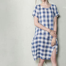Load image into Gallery viewer, Blue plus size linen shift dress maternity summer dresses oversize sundress