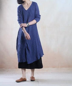 Blue plus size linen sundress long line maxi dress oversize- when a leaf turns green