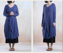 Load image into Gallery viewer, Blue plus size linen sundress long line maxi dress oversize- when a leaf turns green