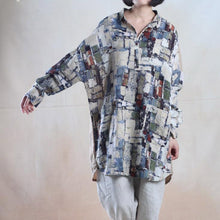 Load image into Gallery viewer, Blue print baggy linen sundress oversize shirt dress blouse