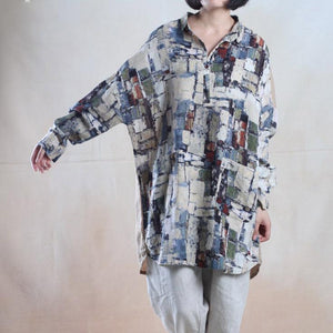 Blue print baggy linen sundress oversize shirt dress blouse