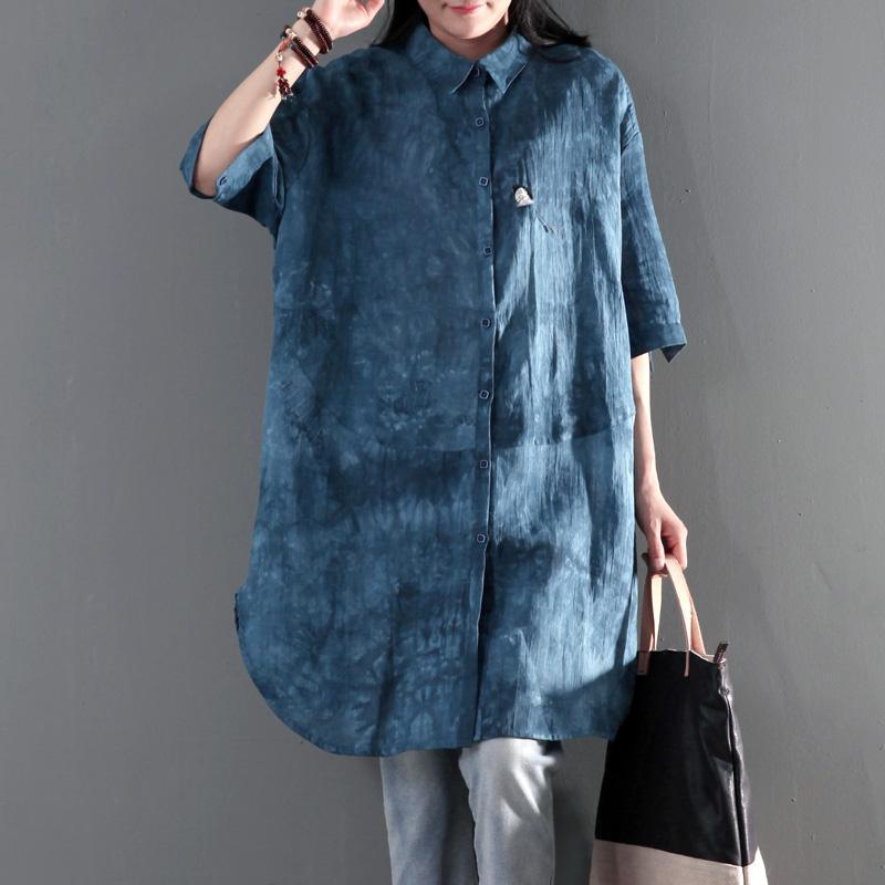 Blue print linen summer shirt dress women blouse sundress