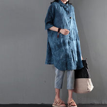 Laden Sie das Bild in den Galerie-Viewer, Blue print linen summer shirt dress women blouse sundress