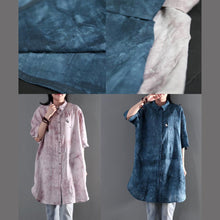 Load image into Gallery viewer, Blue print linen summer shirt dress women blouse sundress