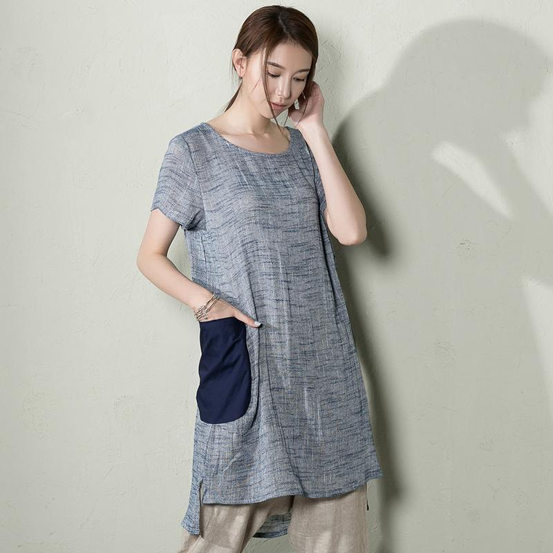 Blue retro linen summer shift dress plus size sundress shirt