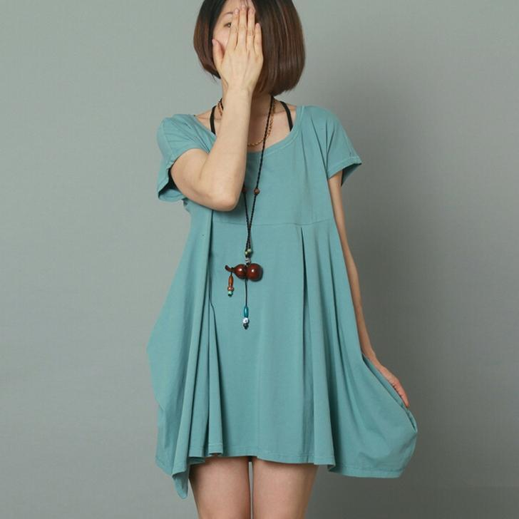 Blue short sleeve sundress cotton loose summer dress oversize