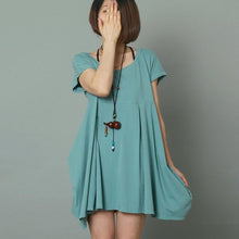 Load image into Gallery viewer, Blue short sleeve sundress cotton loose summer dress oversize