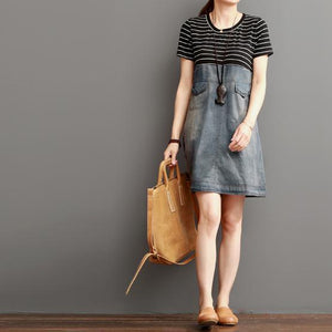 Blue short summer denim dress strip patchwork