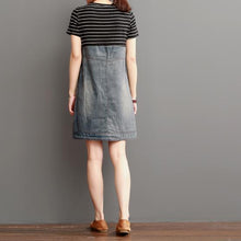 Laden Sie das Bild in den Galerie-Viewer, Blue short summer denim dress strip patchwork