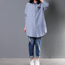 Load image into Gallery viewer, Blue striped women spring blouse long sleeve shirt cotton top oversize