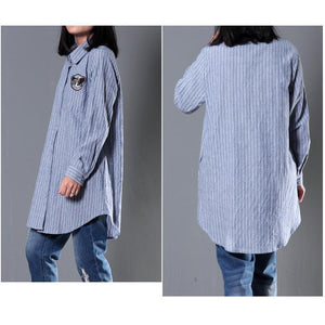 Blue striped women spring blouse long sleeve shirt cotton top oversize