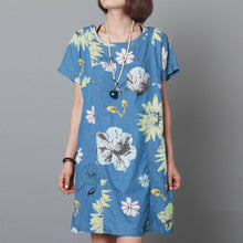 Load image into Gallery viewer, Blue sundress floral cotton dress plus size shift dress