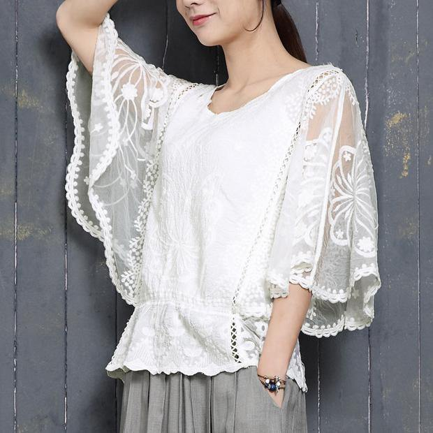 Bohemian Batwing Sleeve cotton clothes Fabrics white o neck blouse summer