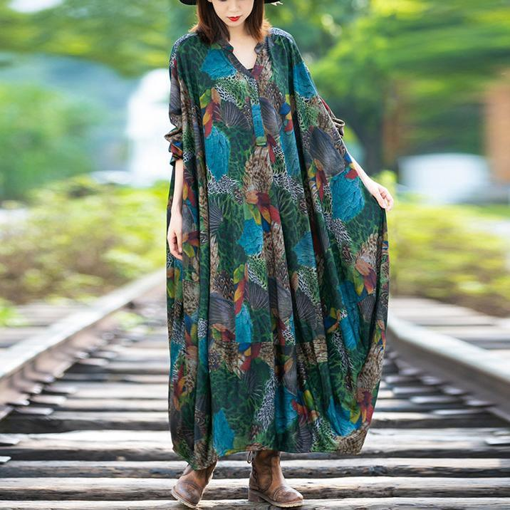 Bohemian Batwing Sleeve cotton v neck dresses Wardrobes green prints long Dresses
