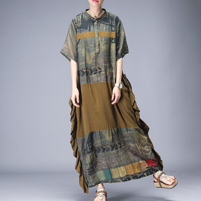 Bohemian Yellow tunic pattern Pakistani Spliced Print A-Line Short Sleeve Dress