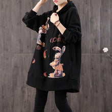 Load image into Gallery viewer, Bohemian black print cotton tunic top hooded pockets loose shirts