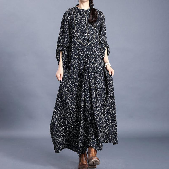 Bohemian black print tunic dress o neck side open Art spring Dresses