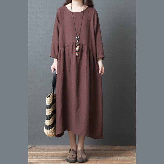 Bohemian chocolate linen Long Shirts Korea Inspiration o neck wrinkled Art Dresses