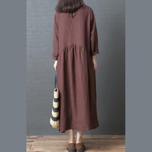 Load image into Gallery viewer, Bohemian chocolate linen Long Shirts Korea Inspiration o neck wrinkled Art Dresses