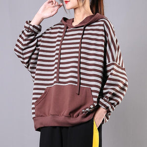Bohemian chocolate striped cotton Long Shirts hooded pockets loose tops