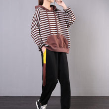 Load image into Gallery viewer, Bohemian chocolate striped cotton Long Shirts hooded pockets loose tops