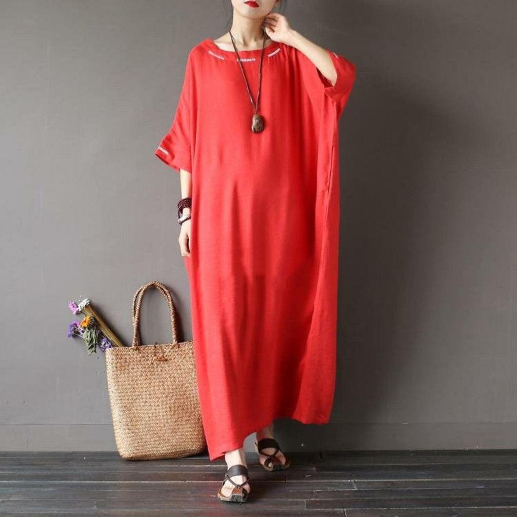 Bohemian embroidery linen summer dress Fashion Ideas red Dresses