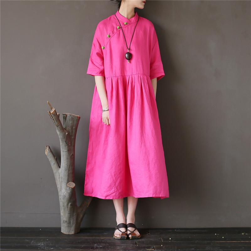 Bohemian half sleeve linen stand collar outfit Work Outfits rose Dress
