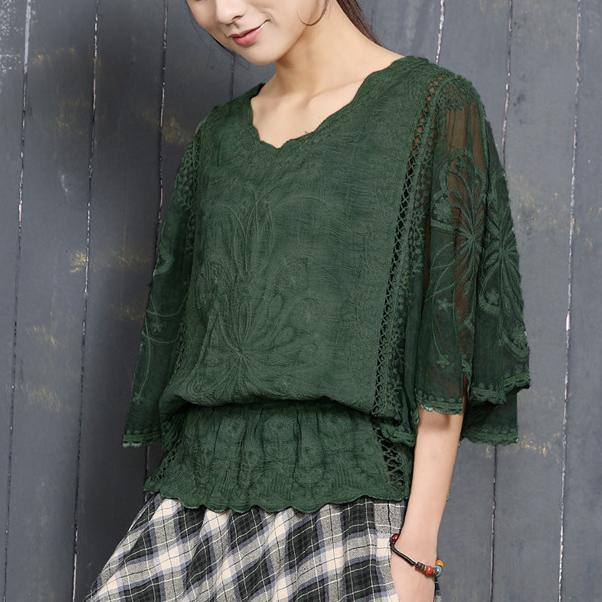 Bohemian hollow out cotton clothes For Women Christmas Gifts green Batwing Sleeve shirts summer