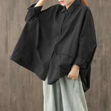 Load image into Gallery viewer, Bohemian lapel Button Down Blouse Fabrics black blouses