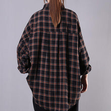 Load image into Gallery viewer, Bohemian lapel pockets cotton clothes Tops black plaid shirts