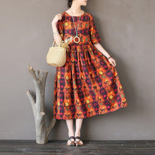 Load image into Gallery viewer, Bohemian linen dresses Plus Size o neck Work orange prints loose Dress
