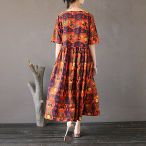 Bohemian linen dresses Plus Size o neck Work orange prints loose Dress