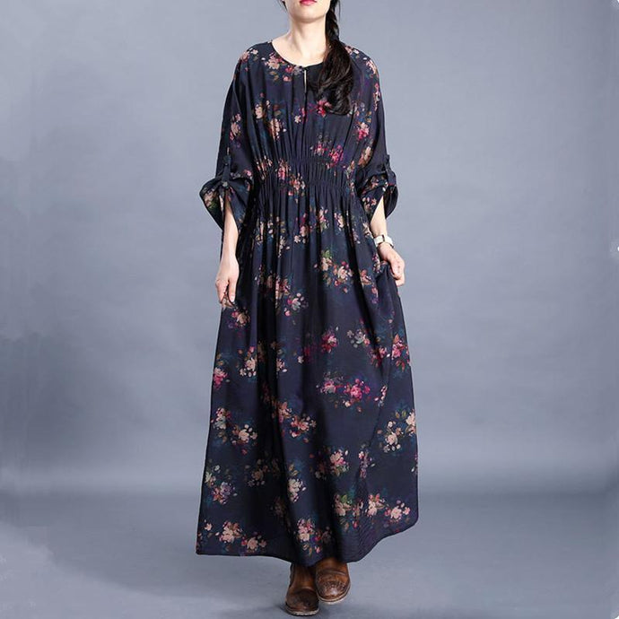 Bohemian o neck Batwing Sleeve dresses Photography navy print Traveling Dresses