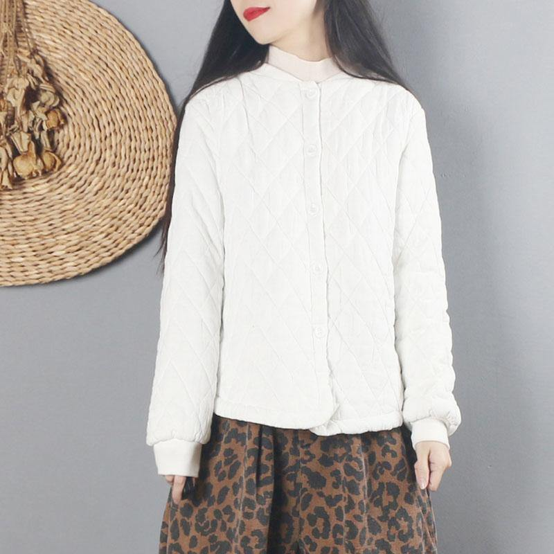 Bohemian o neck Button Down cotton winter clothes For Women white thick shirt