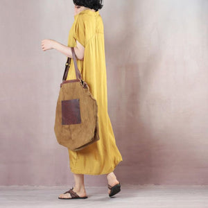 Bohemian o neck Summer dresses Korea Outfits yellow cotton Dress
