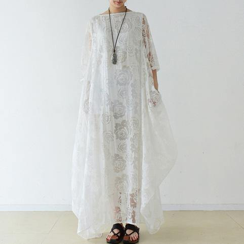 Bohemian o neck asymmetric chiffon Robes Indian Life white Maxi Dress