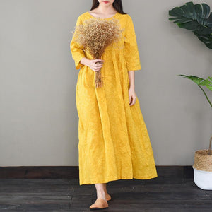 Bohemian o neck cotton high neck quilting clothes Work Outfits yellow long Dresses
