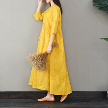 Load image into Gallery viewer, Bohemian o neck cotton high neck quilting clothes Work Outfits yellow long Dresses