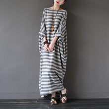Load image into Gallery viewer, Bohemian o neck linen summerWardrobes Sewing striped Dresses