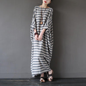 Bohemian o neck linen summerWardrobes Sewing striped Dresses