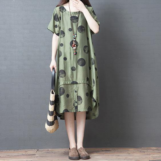 Bohemian o neck low high design quilting dresses Outfits green dotted Dress summer