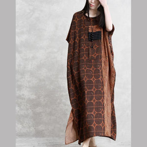 Bohemian o neck patchwork silk clothes For Women chocolate dotted Dress summer
