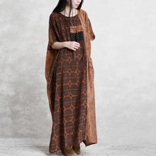 Laden Sie das Bild in den Galerie-Viewer, Bohemian o neck patchwork silk clothes For Women chocolate dotted Dress summer