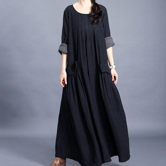 Bohemian o neck pockets cotton linen spring dress Work black Dresses