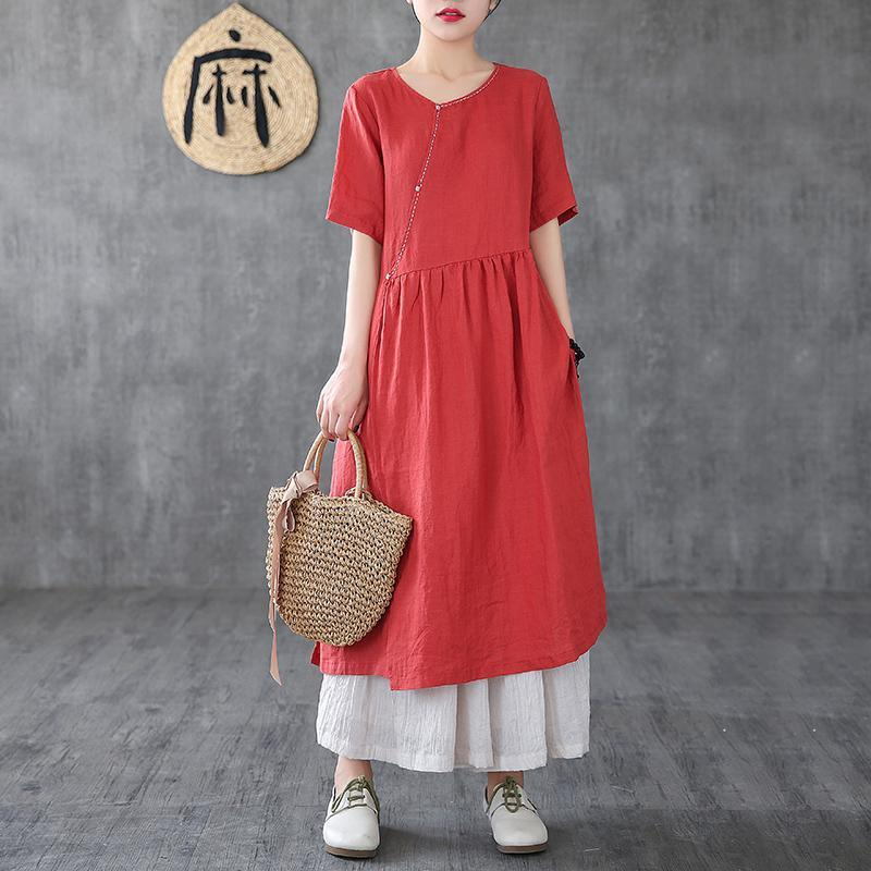 Bohemian o neck pockets linen clothes For Women Neckline red Dresses