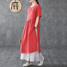 Load image into Gallery viewer, Bohemian o neck pockets linen clothes For Women Neckline red Dresses